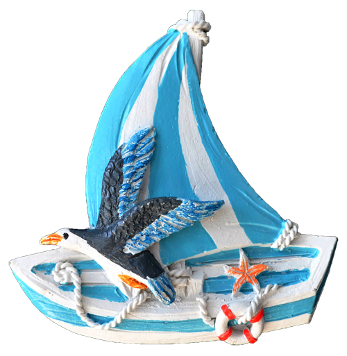 MAGNET POLY NAUTICAL SAIL BOAT L/BLUE  each (ea) * 240 *CASE OF 240