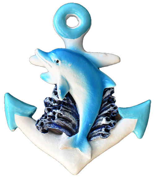 MAGNET POLY NAUTICAL ANCHOR/DOLPHIN L/BLUE  each (ea) * 240 *CASE OF 240
