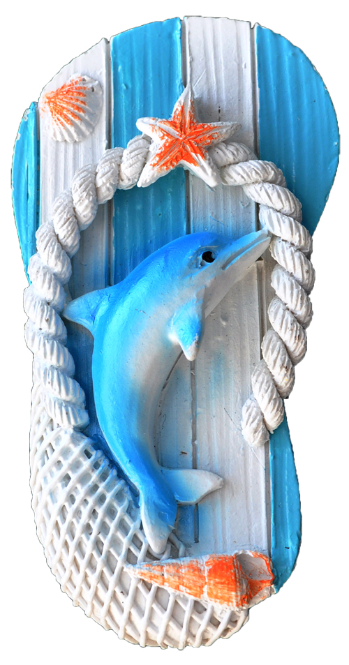 MAGNET POLY NAUTICAL SANDAL/DOLPHIN L/BLUE  each (ea) * 240 *CASE OF 240