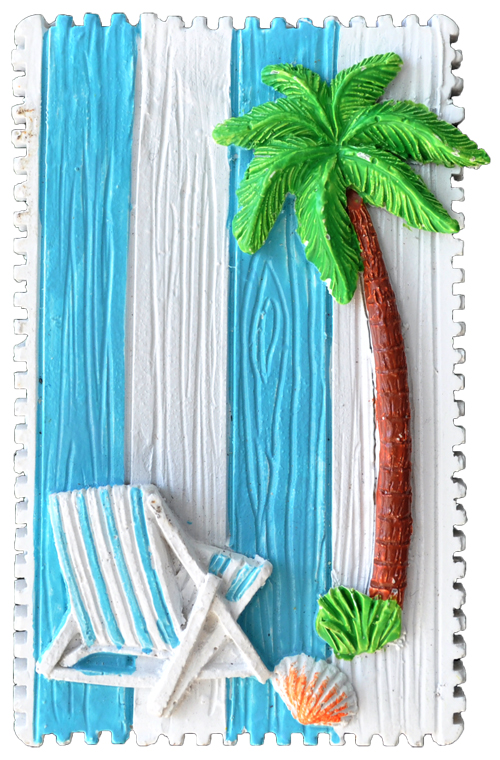 MAGNET POLY NAUTICAL STAMP/PALM TREE L/BLUE  each (ea) * 240 *CASE OF 240