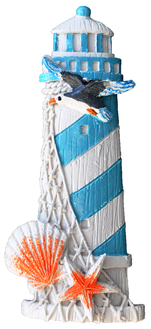 MAGNET POLY LIGHTHOUSE/SHELL L/BLUE  each (ea) * 240 *CASE OF 240