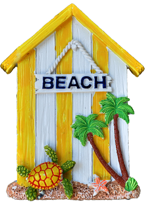 MAGNET POLY YELLOW BEACH HOUSE  each (ea) * 240 *CASE OF 240