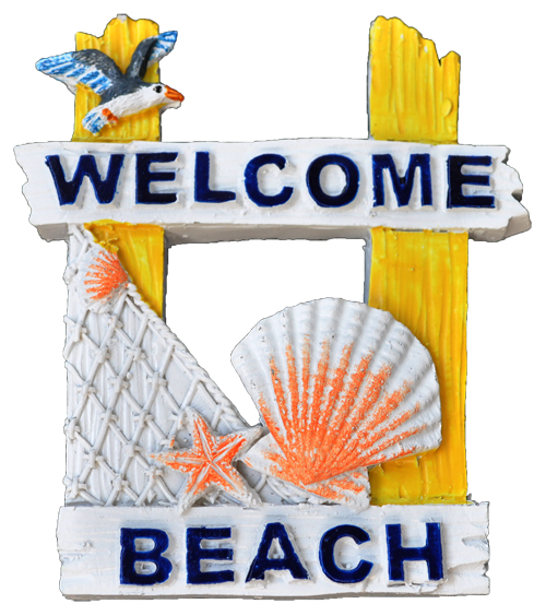 MAGNET POLY YELLOW BEACH SCENE 2/S  each (ea) * 240 *CASE OF 240