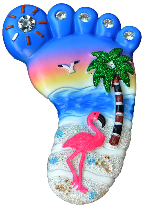 MAGNET POLY FOOT SHAPE FLAMINGO  each (ea) * 240 *CASE OF 240