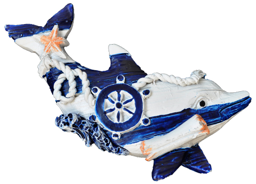 MAGNET POLY NAUTICAL DOLPHIN D/BLUE  each (ea) * 240 *CASE OF 240