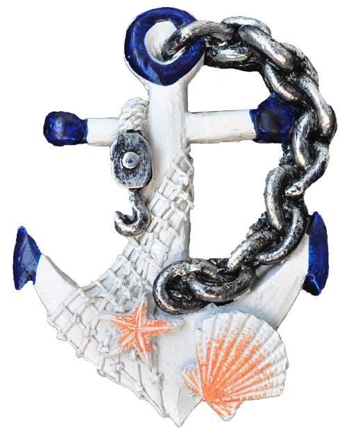 MAGNET POLY NAUTICAL ANCHOR/CHAIN D/BLUE  each (ea) * 240 *CASE OF 240