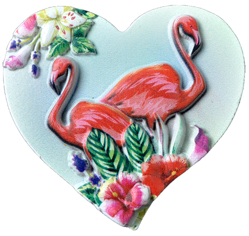 MAGNET POLY DECAL FLAMINGOS HEART  each (ea) * 240 *CASE OF 240