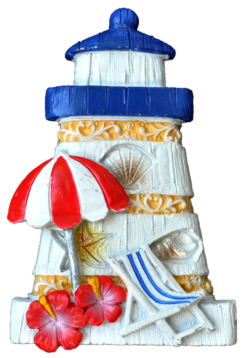 MAGNET POLY NAUTICAL LIGHTHOUSE/BEACH-UMBRELLA  each (ea) * 240 *CASE OF 240