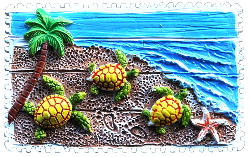 MAGNET POLY STAMP 3 TURTLES  each (ea) * 240 *CASE OF 240