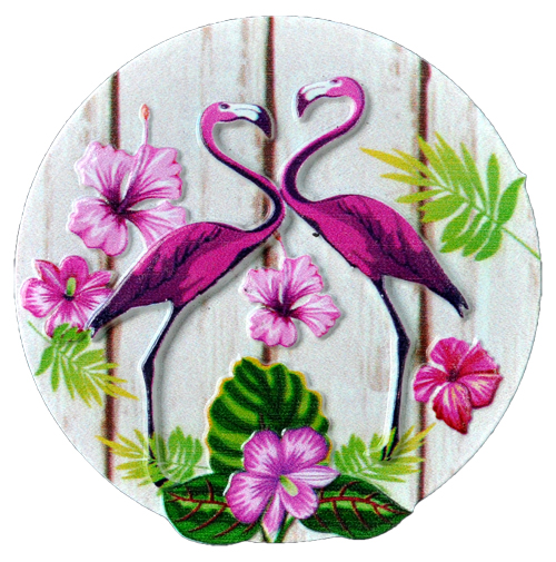 MAGNET POLY DECAL 2 PURPLE FLAMINGOS ROUND  each (ea) * 240 *CASE OF 240