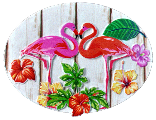 MAGNET POLY DECAL 2 FLAMINGOS OVAL  each (ea) * 240 *CASE OF 240