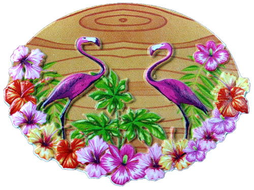 MAGNET POLY DECAL 2 FLAMINGOS WOOD SCENE  each (ea) * 240 *CASE OF 240
