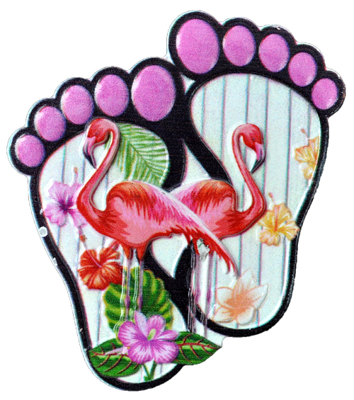 MAGNET POLY DECAL FEET/2-FLAMINGOS  each (ea) * 240 *CASE OF 240