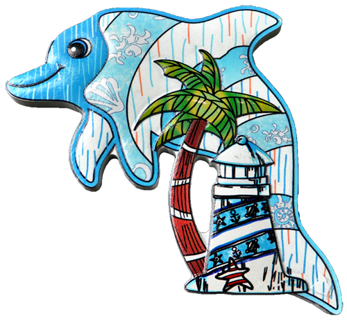 MAGNET POLY DECAL DOLPHIN/PT-LIGHTHOUSE  each (ea) * 240 *CASE OF 240