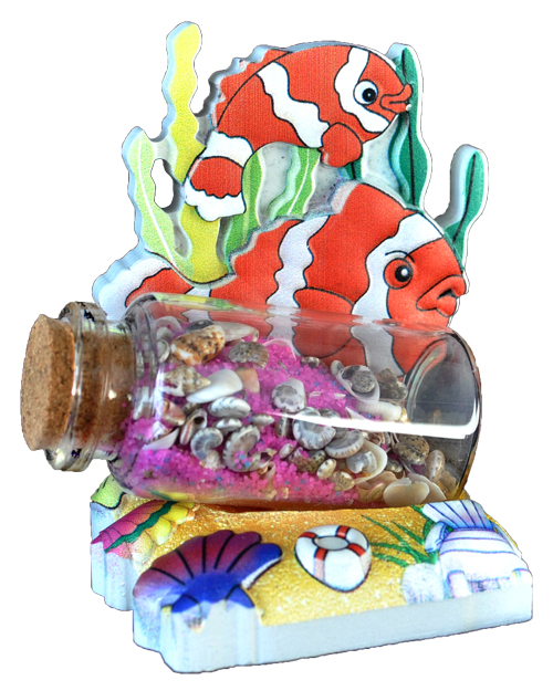 SAND BALL POLY DECAL GOLDFISH  each (ea) * 72 *CASE OF 72