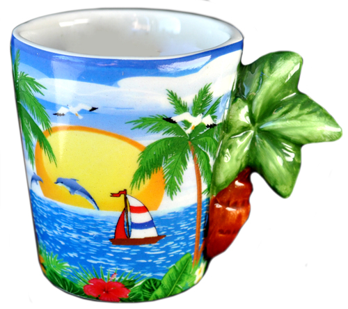 ESPRESSO MUG PALM TREE HANDLE  each (ea) * 144 *CASE OF 144