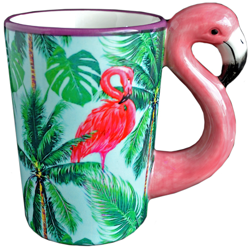 MUG CERAMIC LEAFY / FLAMINGO HANDLE  each (ea) * 36 *CASE OF 36