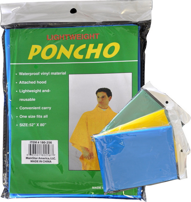 PONCHO- 4 ASSORTED COLORS * UOM: each (ea)* Minimum Order: 72