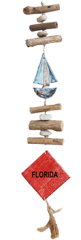 CHIME-WOOD HANGING BOAT PL * UOM: each (ea) * Minimum Order:4