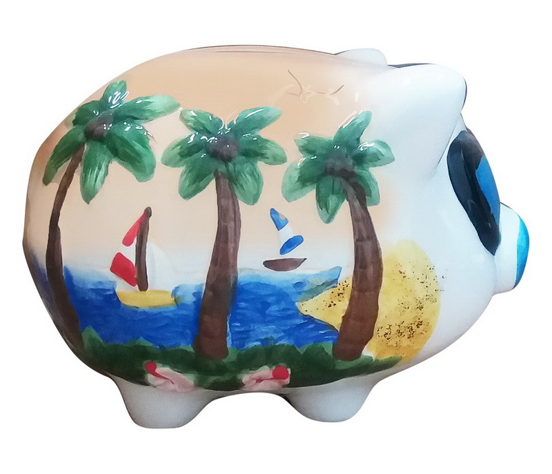 PIG BANK-TAN PALMS/BOATS * UOM: each (ea)* Minimum Order: 12