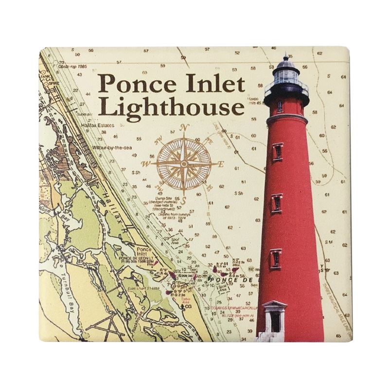 (ST) COASTER CERAMIC-PONCE INLET LIGHTHOUSE.. * UOM: each (ea)* Minimum Order: 12