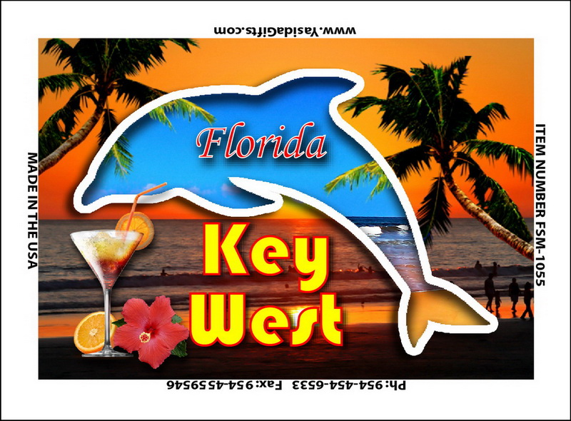 DOLPHIN CUTOUT ON SUNSETFLAT MAGNET 12PC * UOM: dozen (dz)* Minimum Order: 1