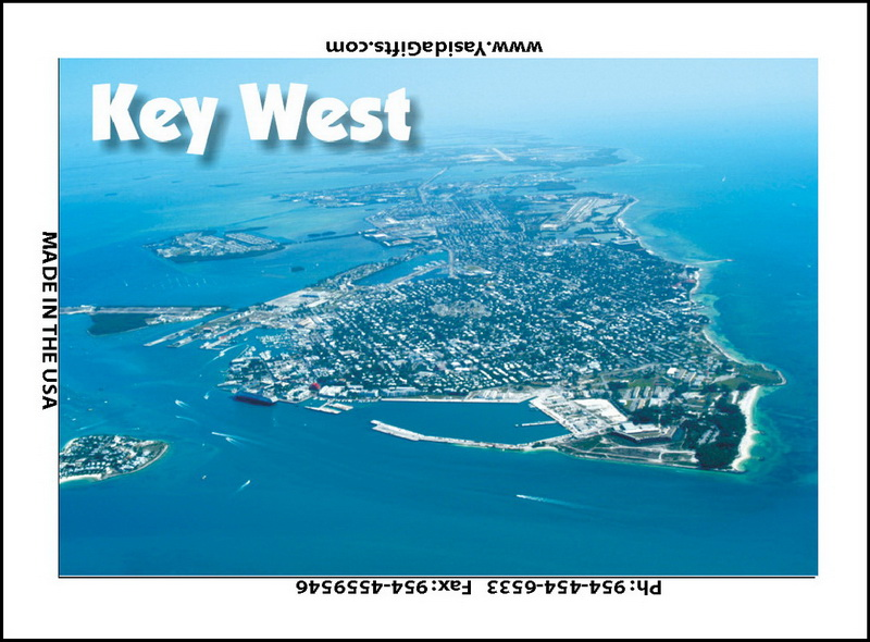 AERIAL PICTURE OF KEY WEST FLAT MAGNET 12PC * UOM: dozen (dz)* Minimum Order: 1