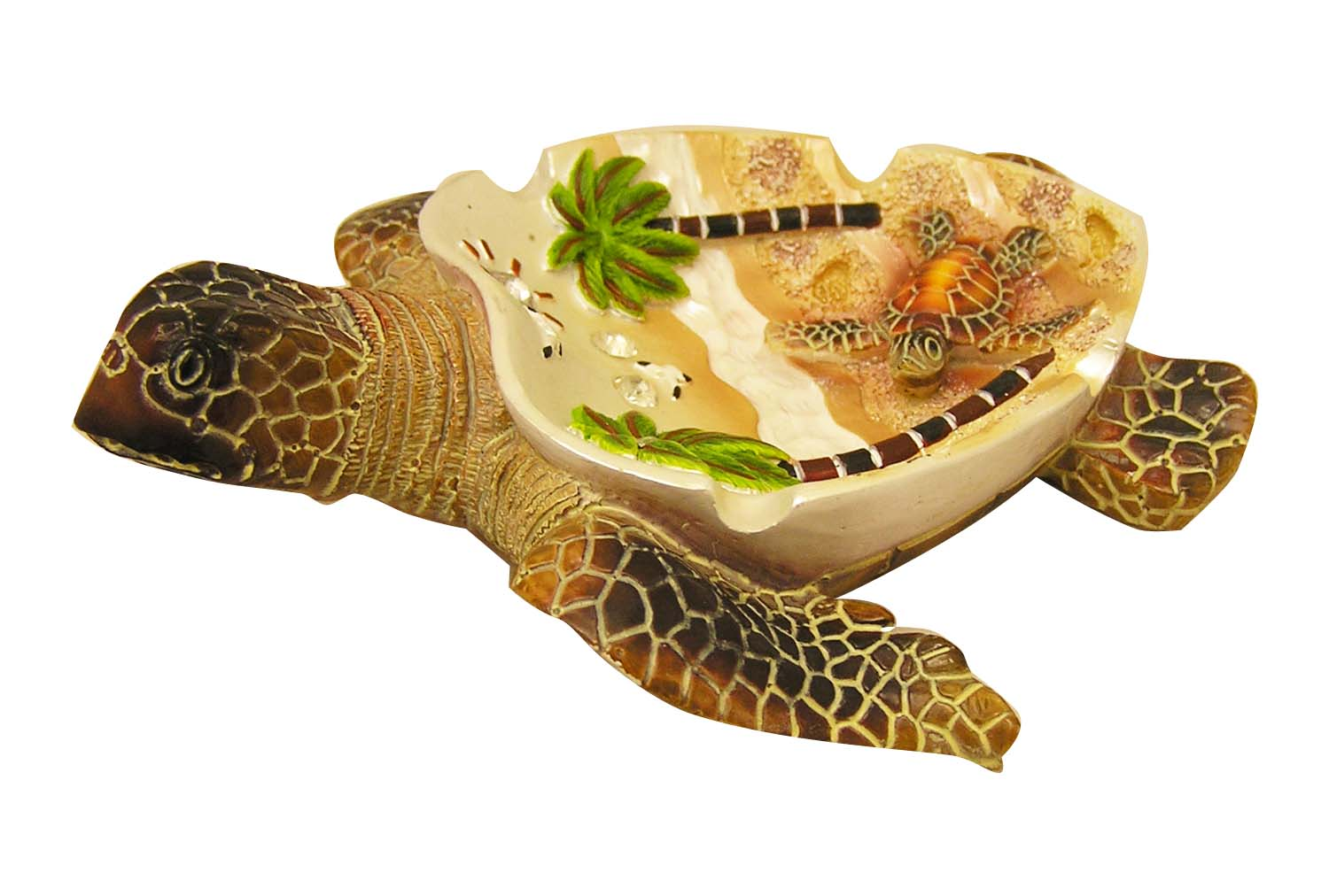 ASHTRAY-POLY TURTLE/PALMS * UOM: PC * Minimum Order:4