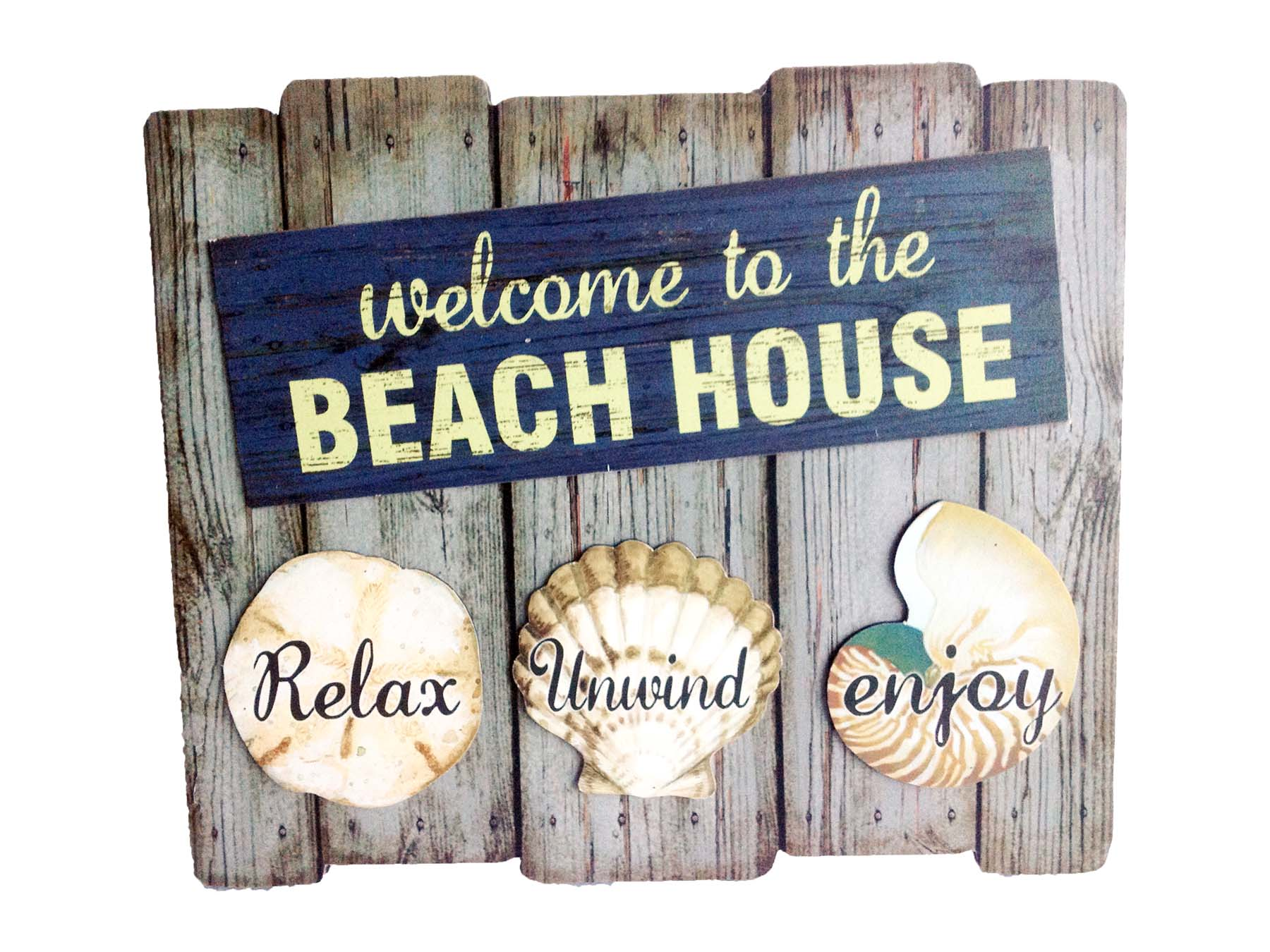 PLAC-WOOD/SHELLS BEACH HOUSE * UOM: pc * Minimum Order:10