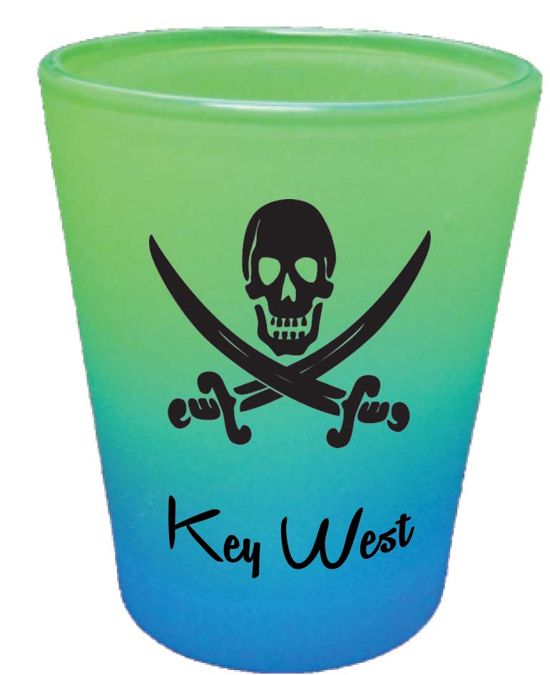 Shot Glass-RNBW CLRS PIRATE HEAD - UOM: DZ - Minimum Order:48