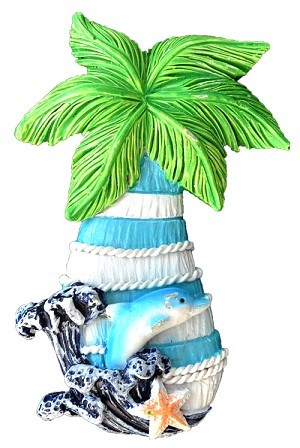 MAGNET POLY NAUTICAL PALM TREE L/BLUE  each (ea) * 240 *CASE OF 240
