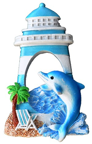 MAGNET POLY NAUTICAL LIGHTHOUSE/DOLPHIN L/BLUE  each (ea) * 240 *CASE OF 240