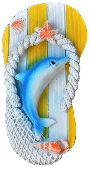 MAGNET POLY SANDAL/DOLPHIN YELLOW  each (ea) * 240 *CASE OF 240