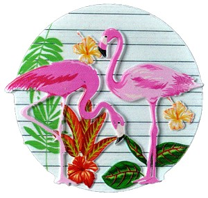 MAGNET POLY DECAL 2 FLAMINGOS ROUND  each (ea) * 240 *CASE OF 240