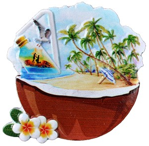 MAGNET POLY DECAL COCONUT BEACH SCENE  each (ea) * 240 *CASE OF 240