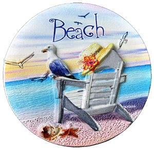 MAGNET POLY DECAL SEAGULL BEACH  each (ea) * 240 *CASE OF 240