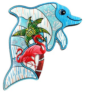 MAGNET POLY DECAL DOLPHIN/PT-FLAMINGO  each (ea) * 240 *CASE OF 240