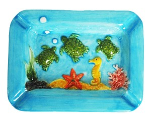 ASHTRAY SQ EMBOSSED TURTLES-DOLO * UOM: PC * Minimum Order:6