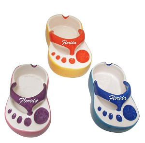 ASHTRAY-SANDAL SHAPE ASST ClRS F * UOM: PC * Minimum Order:4