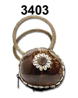 C/O-WOOD-Purse-Coco w/Shells * UOM: PC * Minimum Order:4